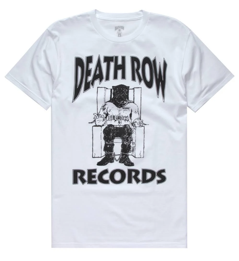 Authentic Men's Death Row Records Black Official Logo Licensed T-Shirt White S