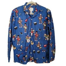 Nick & Nora Blue Sock Monkey Band Button Pajama Top L Large Long Sleeve ... - $25.97