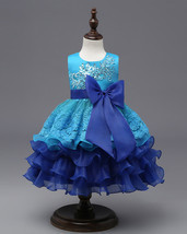 Flower Girl Dresses Ruffles Lace Applique Kids Princess Gowns Age 3-10 Y... - $52.04 CAD