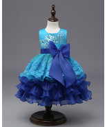 Flower Girl Dresses Ruffles Lace Applique Kids Princess Gowns Age 3-10 Y... - €34,43 EUR