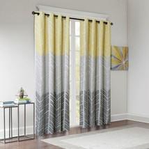 Luxury Yellow Grey & White Geometric Chevron Blackout Curtain Panel - AL... - $41.99