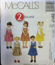 McCalls 2917 Girls Toddler Jumper 2 Hour Sizes 1-2-3 U/C F/F Sewing Pattern BTS - $12.71