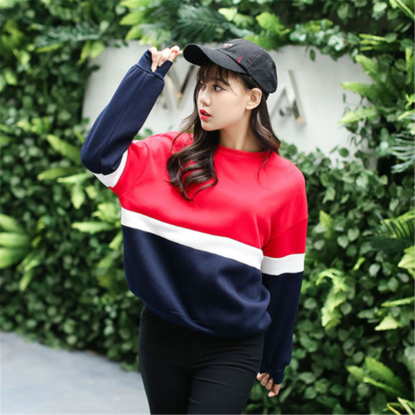 Autumn New Spell Color Stitching Harajuku Women Hoodies Pullover Fleece Loose Fe image 2