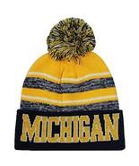 Michigan Men's Blended Stripe Winter Knit Pom Beanie Hat (Gold/Navy) - $13.75