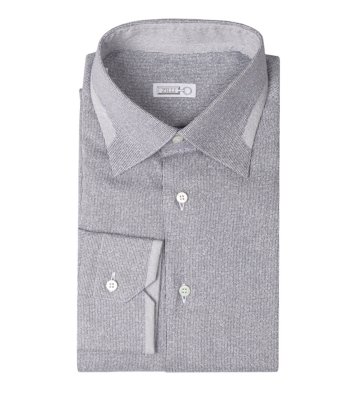 Zilli Men's Grey Patterned Cotton Dress Shirt Regular fit, size 40(15.75)