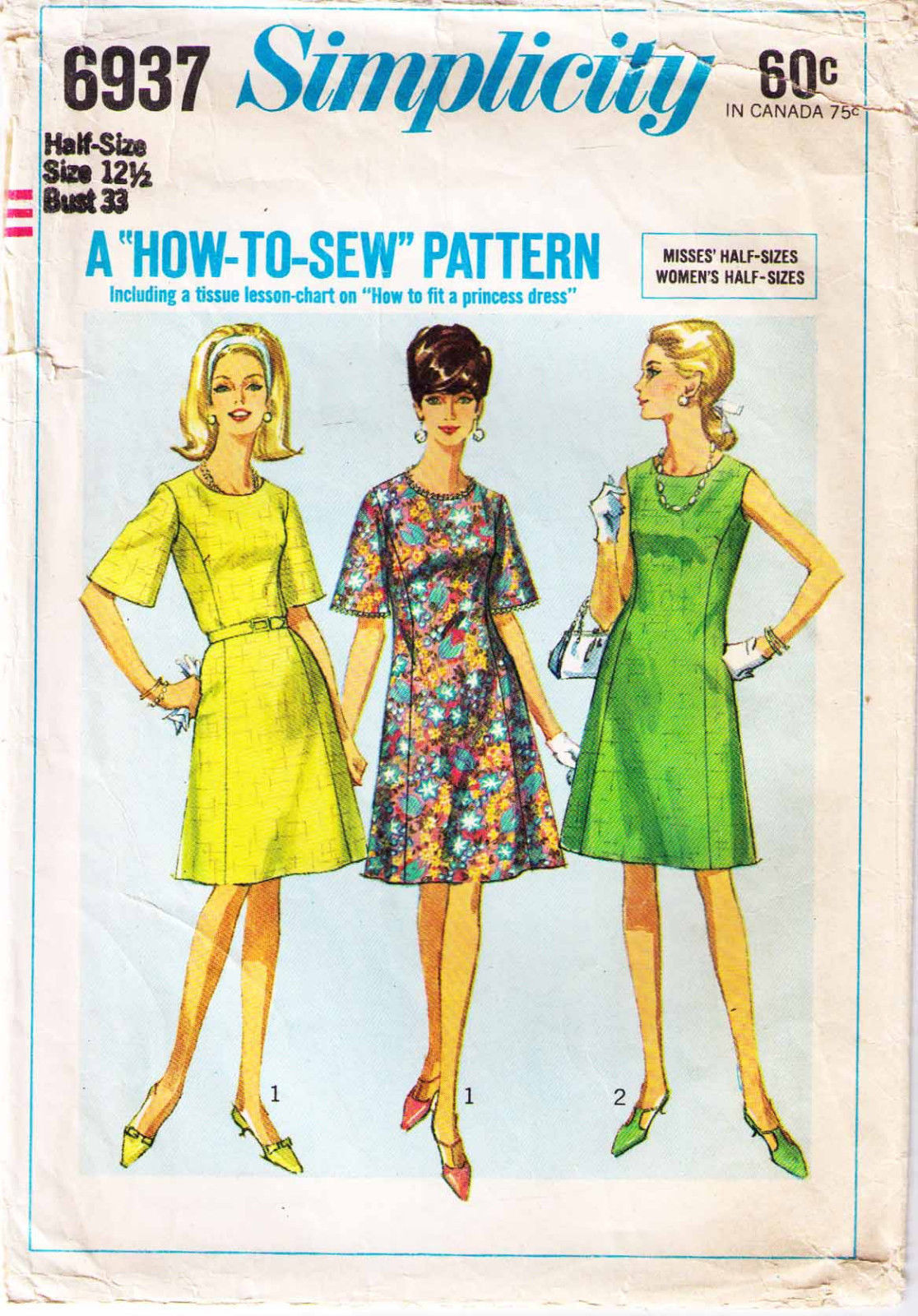 0f137714d073f 1966 How-To-Sew Misses' DRESS Pattern 6937-s and 50 similar items