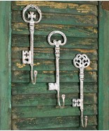 Rustic SET of THREE (3) OVERSIZE KEY HOOK Cast Iron Country Farmhouse Skeleton - £34.18 GBP