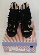 BF Betani Shiloh 8 Black Fringe Wedge Heel Sandals Size 5 And Half image 1