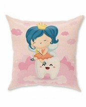 1 Tooth Fairy Throw Pillow Cover Case Cushion 18x18 Double Sided Burlap ... - $8.99