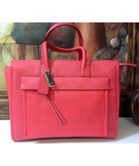 NWT COACH BLEECKER LEATHER LARGE RILEY CARRYALL SILVER/LOVE RED F27927 M... - $286.71