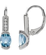 14K White Gold .08 CTW Aquamarine & Diamond Leverback Earrings - $496.99