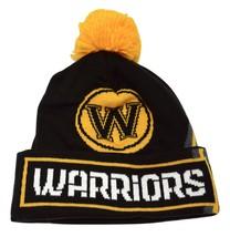 Golden State Warriors adidas NBA Basketball Black Gold Team Pom Knit Hat Beanie - $20.85