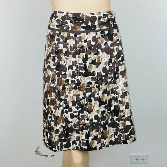Primary image for Ann Taylor Factory Brown Tones Abstract Print A Line Skirt 8
