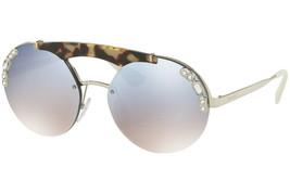 Prada Ornate Round Brow Bar Crystal Sunglasses Palladium Blue Mirrored PR52US - $176.42