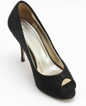 VALENTINO Black Satin Pump Platform Peep Toe Gold Leather Lining 37 - $90.25