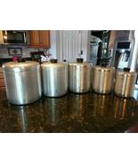 Vintage Mid Century Spun Aluminum Canister Lot Flour Sugar Coffee Tea Co... - $109.15