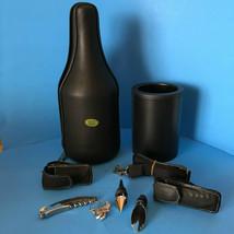 CaddyO Wine Bottle Tote Black Leather Cooler Beach Travel - $777,69 MXN