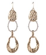 NWT $245 AUTH ALEXIS BITTAR GOLD Crystal Hammered LongLink DROP EARRINGS... - $149.59