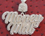 14k White Gold Finish Customize Money mal 925 Sterling Silver Iced Out Pendant - $702.00