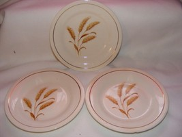 "3 Knowles Semi Vitreous Golden Wheat 6.5"" Bread Plates USA - $9.95"