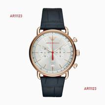 Brand New Emporio Armani Men's Dress Blue Leather Chronograph Watch AR11123 - $127.15