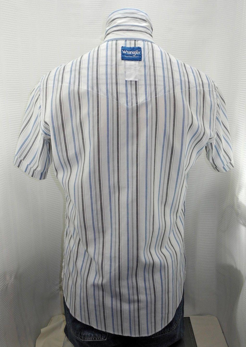 Wrangler Western Blue Grey White Striped Snap-Front Short Sleeve Shirt-Men's M/L
