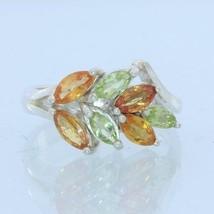Orange Sapphire Peridot Gemstone Handmade Sterling Silver Ladies Ring size 7.25 - £77.31 GBP
