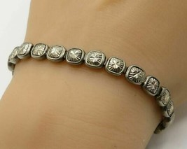 925 Sterling Silver - Vintage Faceted Faux Gemstone Tennis Bracelet - B2147 - $50.64