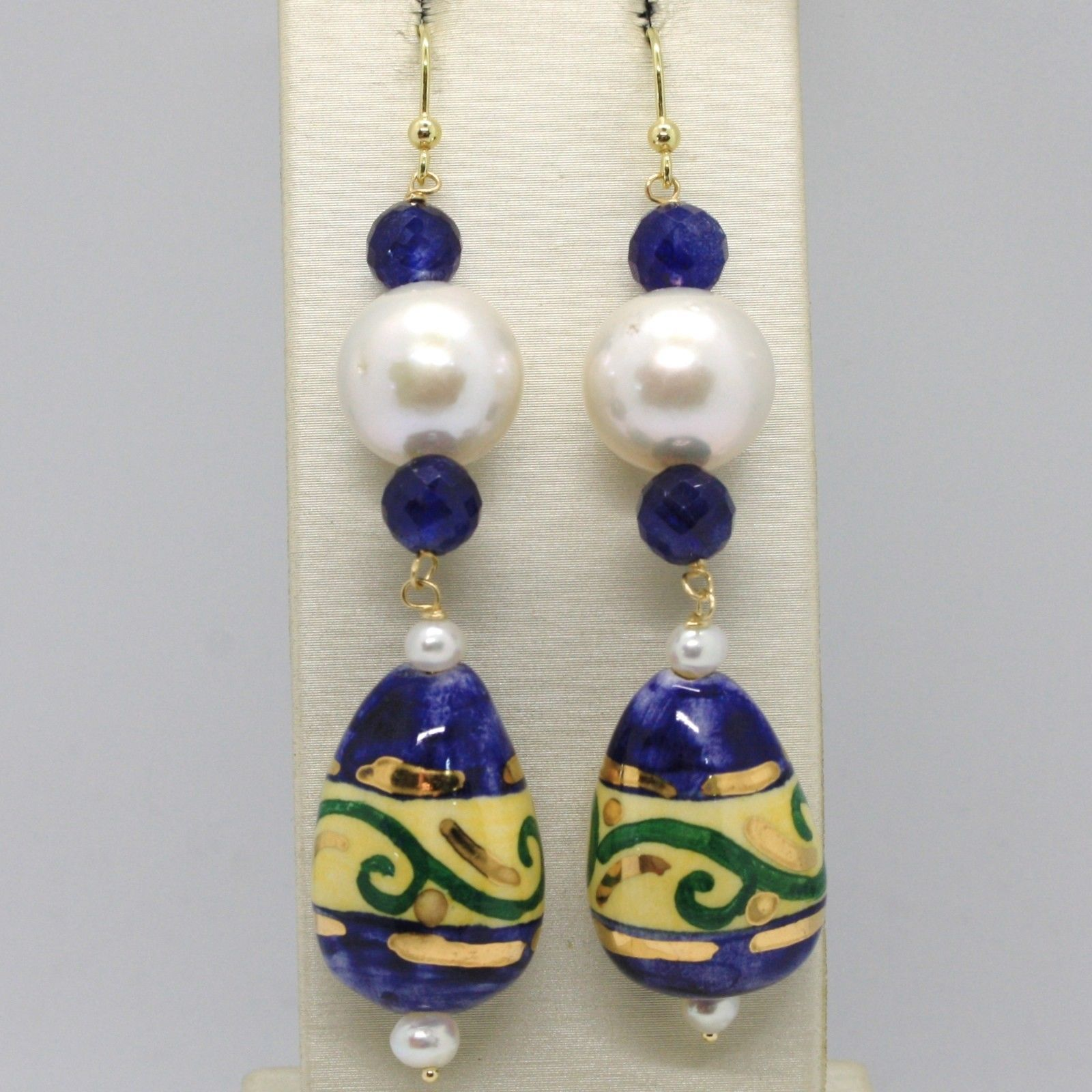 18K YELLOW GOLD EARRINGS SAPPHIRE, PEARL, CERAMIC BIG DROP HAND PAINTED IN ITALY