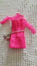 VINTAGE HOT PINK BARBIE SIZE GOGO MINI DRESS,LABEL REMOVED,FAUX LEATHER,... - $15.14
