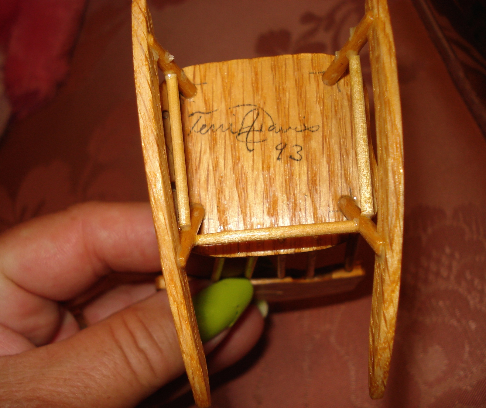 TERRI DAVIES SIGNED DOLLHOUSE MINIATURE WOOD ROCKING CHAIR 1993