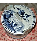 Delf - White and Blue Ceramic Delft Dutch Covered Sugar Bowl - $10.00