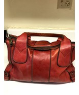 Fossil Long Live Vintage 1954 Reissue Handbag Brown Burgundy Leather Sat... - $80.00