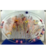 "Dry Flowers Inside of Large Plastic Plate/Tray Decor 21""x15""x1.5"" - $18.70"