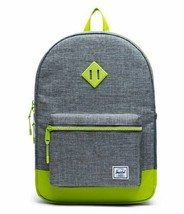 HERSCHEL SUPPLY CO.HERITAGE YOUTH RAVEN CROSSHATCH/LIME GREEN BACKPACK ... - $42.85