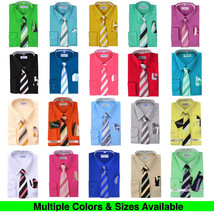 Berlioni Italy Toddlers Kids Boys Long Sleeve Dress Shirt Set With Tie & Hanky