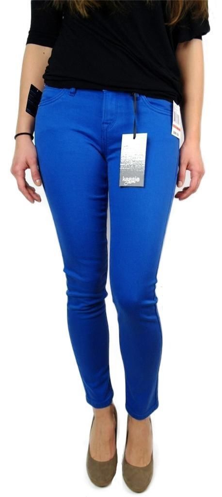 NEW KENSIE JEANS WOMEN'S PREMIUM SKINNY SLIM FIT ANKLE BITER PANTS BLUE STONE