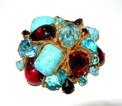 VINTAGE GOLD TONE HUGE RHINESTONE & ART GLASS RED BLUE LARGE BROOCH VOGU... - $300.00