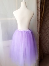 Women's Knee Length Tutu Tulle Skirt High Waist Tutu Party Skirts Light Purple  image 2