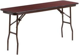 Folding Training Table Rectangle Mahogany Laminate Home Office Kitchen F... - $99.78
