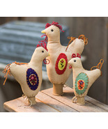 Primitive SET of 3 ROOSTERS ON SPOOLS DOLL Country Fabric Farmhouse Folk... - $65.99