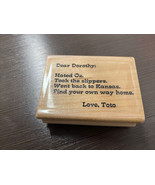 Dear Dorothy Wood Mounted Craft Stamp New - $3.91