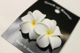 "Hawaii Bridal Wedding 1.75"" Flower Hair Clip White Yellow Plumeria ~Set ... - €7,08 EUR"