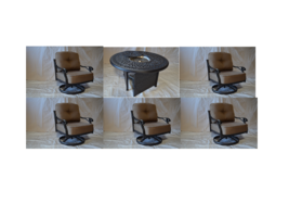 "Elizabeth Outdoor Patio 5 pcs Swivel Rocker Club Chairs and 52"" Fire Gas... - $2,732.40+"