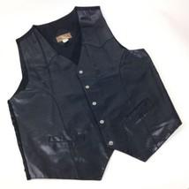 Modal Vtg Black Leather front vest Western Biker Oklahoma State buttons XL - $39.55