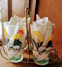 Hazel Atlas Rooster Beverage Glasses (4) with Carrier Vintage - £27.01 GBP