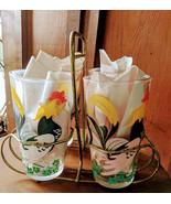 Hazel Atlas Rooster Beverage Glasses (4) with Carrier Vintage - $35.00