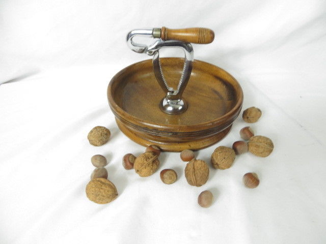 WOOD NUTCRACKER BOWL Vintage Antique Primitive Metal Nut Cracker Attached