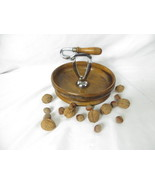WOOD NUTCRACKER BOWL Vintage Antique Primitive Metal Nut Cracker Attached - $108.90