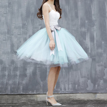 Light Blue Tulle Tutu Skirt 6-Layered Party Puffy Tulle Skirt Plus Size image 10